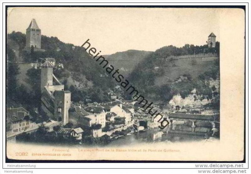 Fribourg - le vieux Pont de la Basse Ville et le Pont de Gotteron