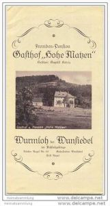 Nagel im Fichtelgebirge 30er Jahre - Wurmloh - fremden-Pension Gasthof Hohe Matzen Besitzer Baptist König - Faltblatt