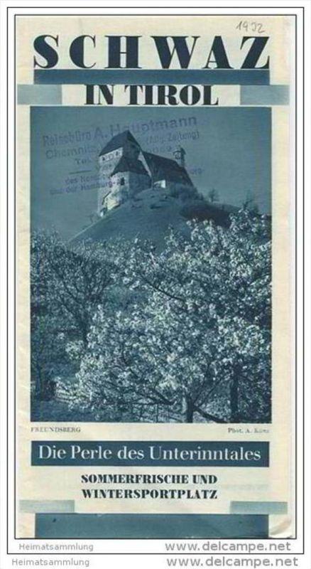 Schwaz in Tirol 30er Jahre - Faltblatt mit 12 Abbildungen