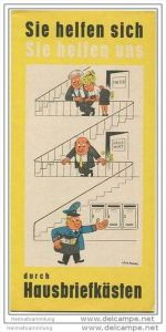 Werbebroschüre der Deutschen Post für Hausbriefkästen 1964 - Faltblatt mit 7 Abbildungen