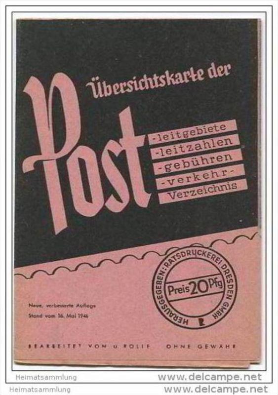 Übersichtskarte für Deutschland - über die Post -leitgebiete -leitzahlen -gebühren -verkehr - Verzeichnis - Mai 1946