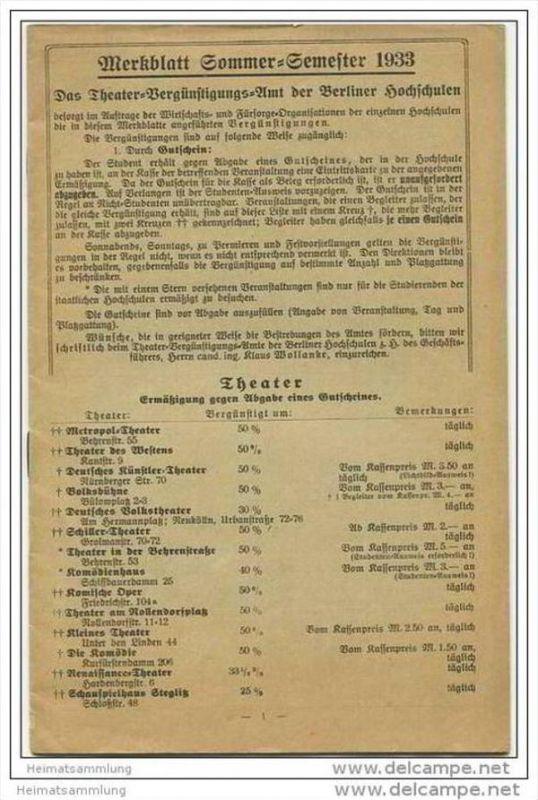 Merkblatt Sommer-Semester 1933 - Das Theatervergünstigungs-Amt der Berliner Hochschulen