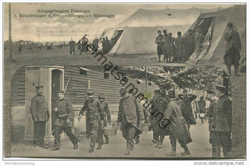 Münsingen - Kriegsgefangene Franzosen im Barackenlager des Truppenübungsplatz - Verlag H. Sting Tübingen - Feldpost (E15