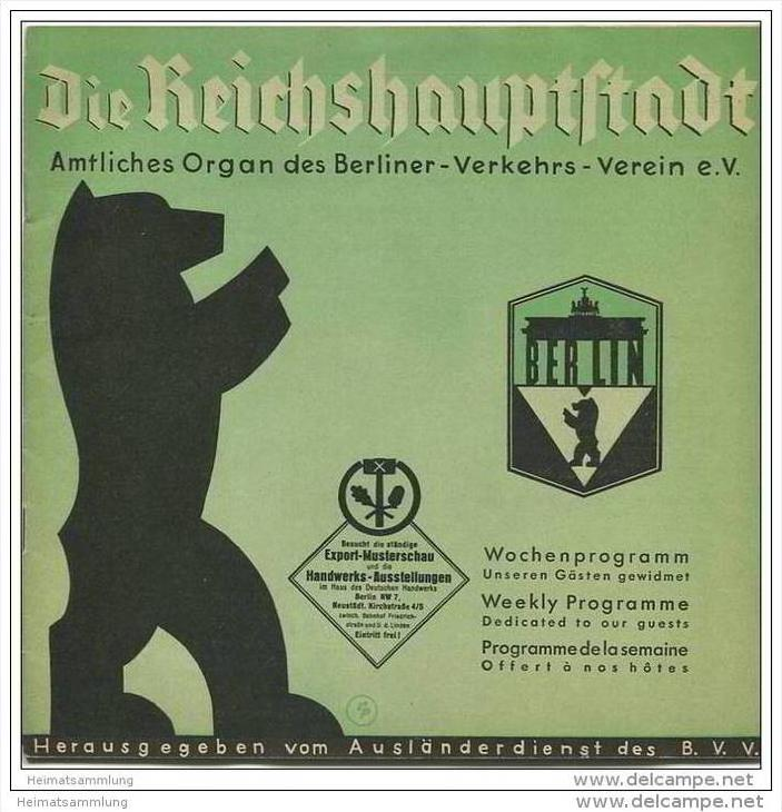 Die Reichshauptstadt - Offizielles Organ des Berliner Verkehrs-Vereins e.V. - Wochenprogramm 19. bis 25. Mai 1936