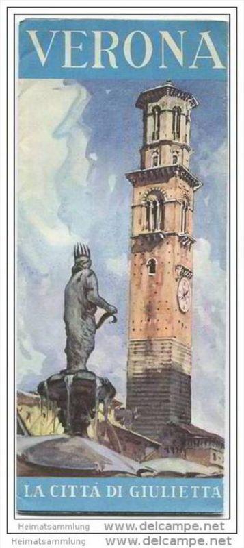 Verona 1950 - Faltblatt mit Stadtplan und 12 Abbildungen