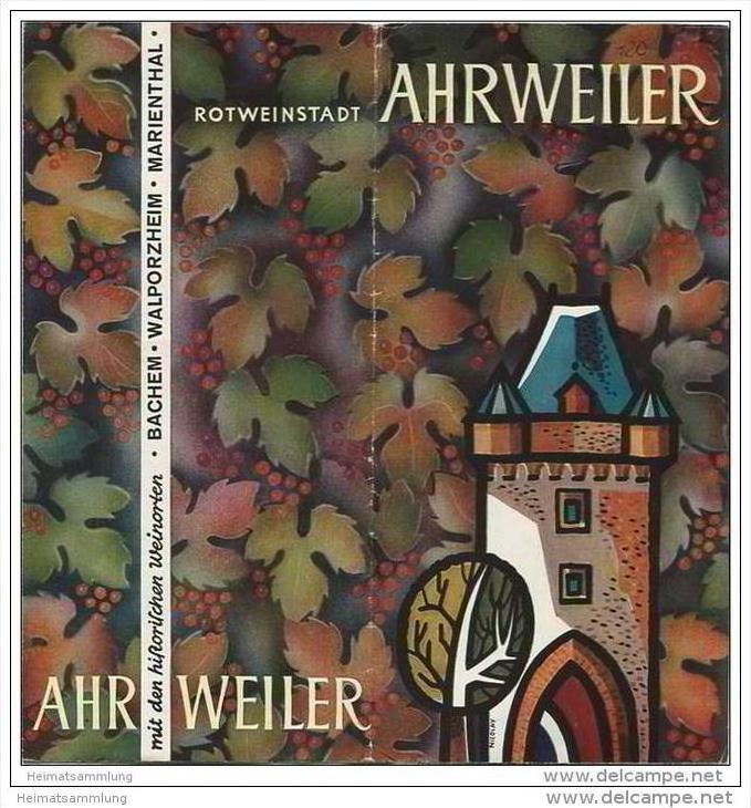 Ahrweiler - Faltblatt mit 17 Abbildungen - Unterkunfts- und Gaststättenverzeichnis 1965