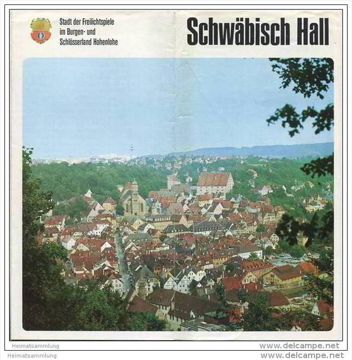 Schwäbisch Hall - Faltblatt mit 35 Abbildungen - Hotel und Gaststättenverzeichnis - Sommerfahrplan Schwaben-Franken-Bus