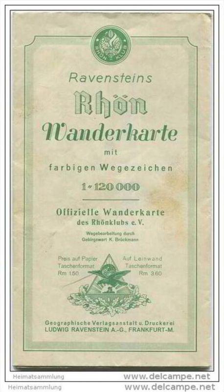 Ravensteins Rhön Wanderkarte mit farbigen Wegezeichen 30er Jahre - Maßstab 1:120 000 Größe 65cm x 80cm