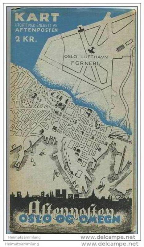 Schweden - Oslo og Omegn 1940 - Kart utgitt med enerett av Aftenposten - Oslo Lufthavn Fornebu