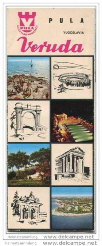 Kroatien - Pula 60er Jahre - Faltblatt mit 16 Abbildungen