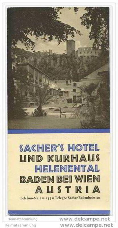 Baden bei Wien - Sacher 's Hotel und Kurhaus Helenental - Faltblatt mit 5 Abbildungen