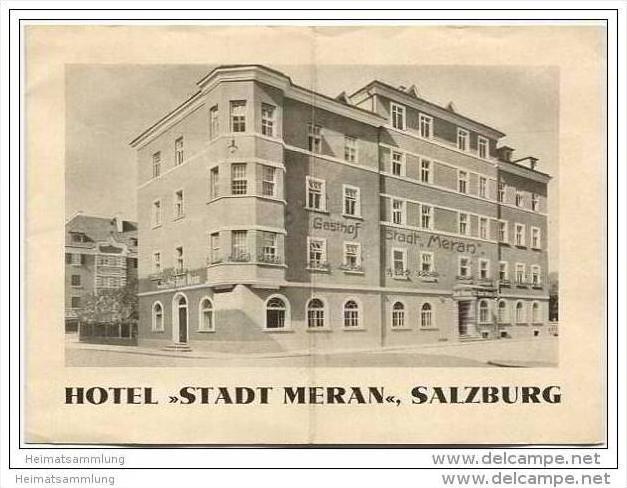 Salzburg - Hotel Stadt Meran - Besitzer A. u. M. Fröhlich - Faltblatt mit 3 Abbildungen