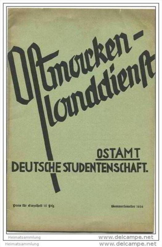 Ostmark - Ostmarkenlanddienst - Ostamt - Deutsche Studentenschaft - Sommersemester 1934