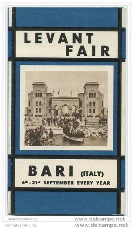 Bari - Fiera del Levante - Levant Fair 20er Jahre - Faltblatt mit 11 Abbildungen mit Angaben der Standmieten