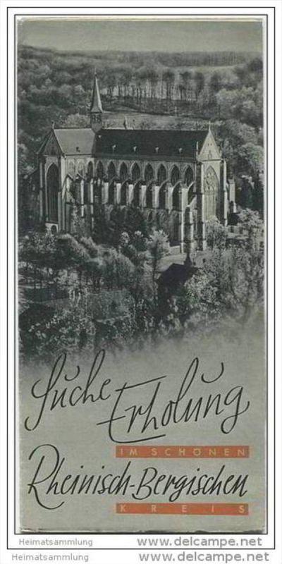 Der Rheinisch-Bergische Kreis 30er Jahre - Faltblatt mit 10 Abbildungen - Übersichtskarte