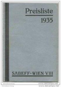 Sabeff - Wien VIII - Briefmarken Preisliste 1935 mit vielen Abbildungen
