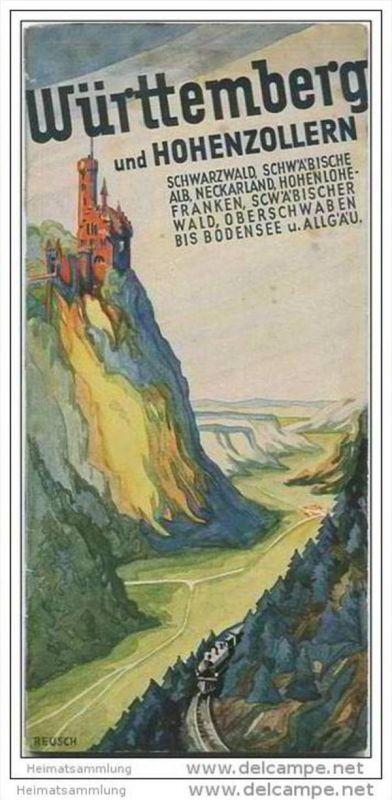 Württemberg und Hohenzollern 1932 - 60 Seiten mit 50 Abbildungen - einem Plan von Stuttgart und einer Reliefkarte