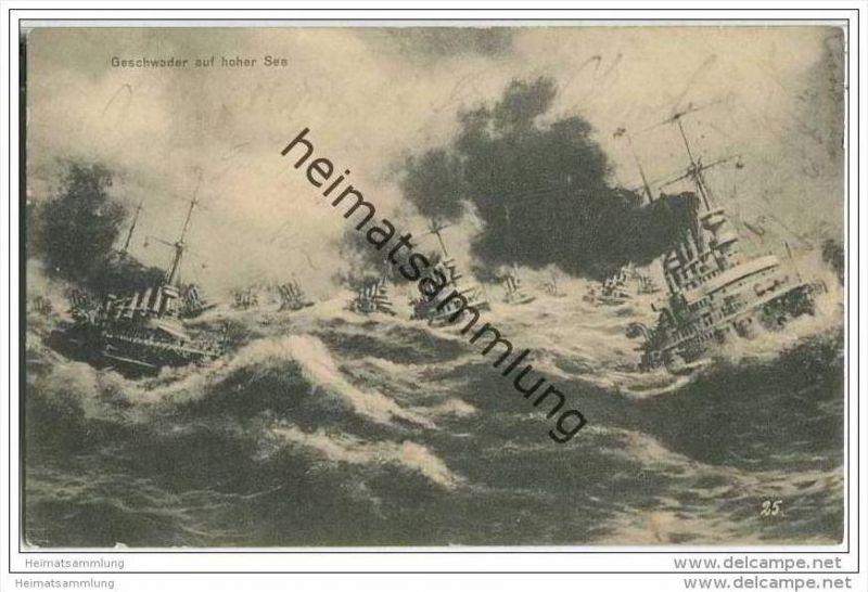 Geschwader auf hoher See - Kriegsschiffe - Feldpost