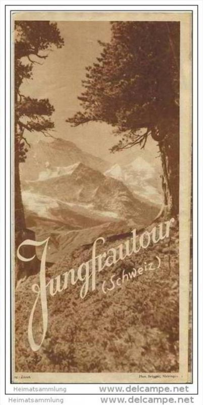 Schweiz 30er Jahre - Jungfrautour - Faltblatt 52cm x 75cm mit 16 Abbildungen
