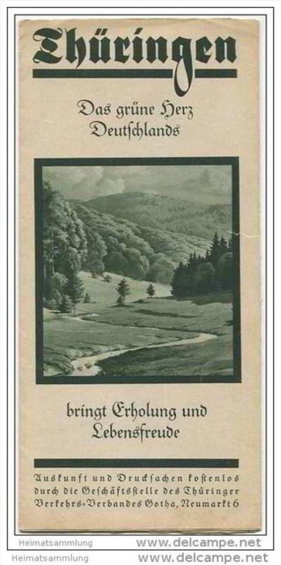 Thüringen - Das grüne Herz Deutschlands 20er Jahre - Faltblatt mit 16 Abbildungen
