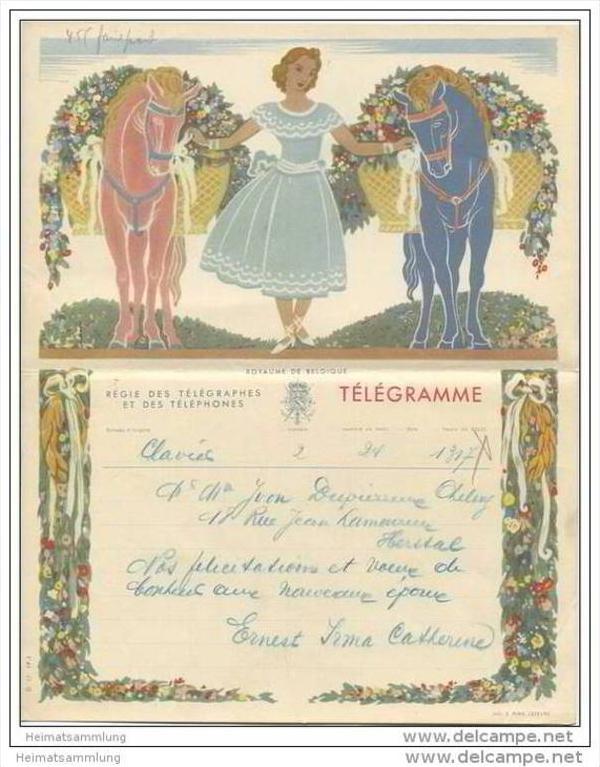 Royaume de Belgique - Koninkrijk Belgie - Telegramm - Telegram 50er Jahre