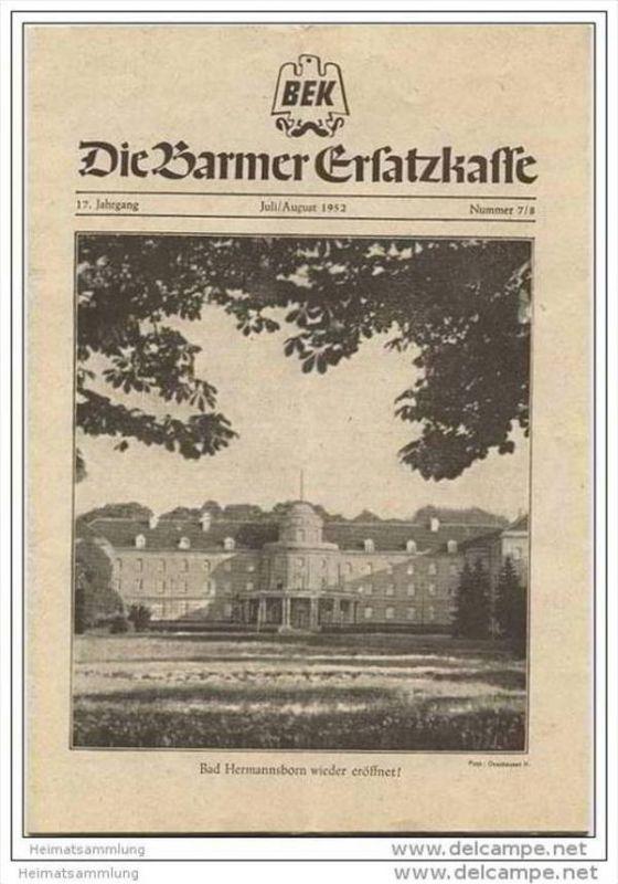Die Barmer Ersatzkasse - Zeitschrift für Mitglieder Juli August 1952 - 14 Seiten - Zeitungsbanderole