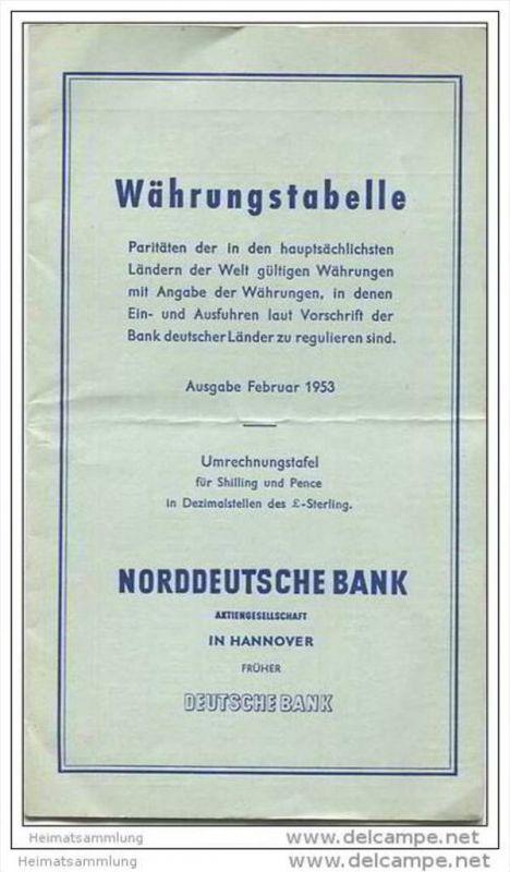 Norddeutsche Bank - früher Deutsche Bank - Währungstabelle Ausgabe 1953