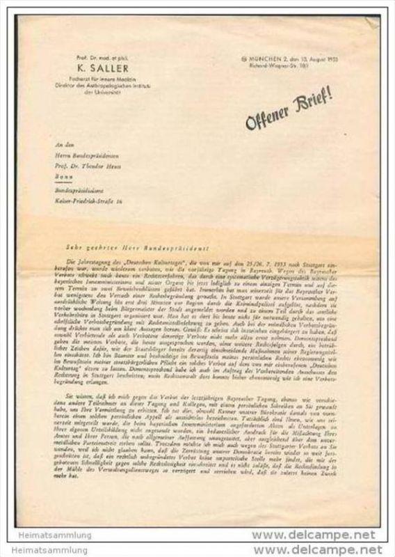 Offener Brief von Prof. Dr. med. et phil. K. Saller an den Bundespräsidenten Dr. Theodor Heuss - Faltblatt 13. August 19