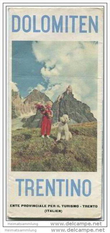 Dolomiten 1956 - Faltblatt mit 15 Abbildungen - Reliefkarte / Tomasi56 - Hotel- und Gaststättenverzeichnis