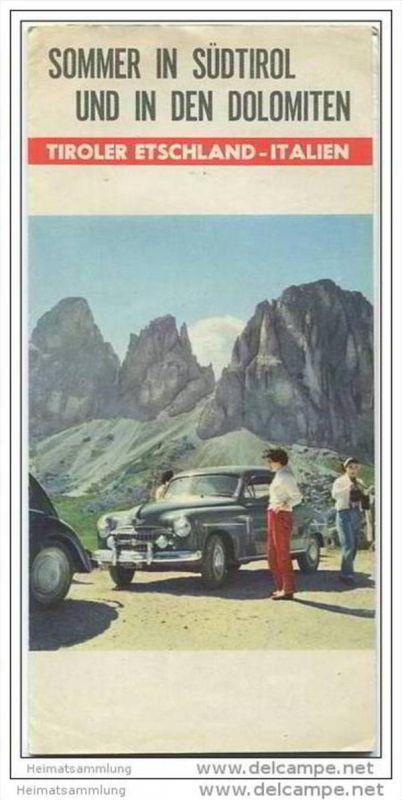 Dolomiten - Tiroler Etschland 50er Jahre - Faltblatt mit 11 Abbildungen