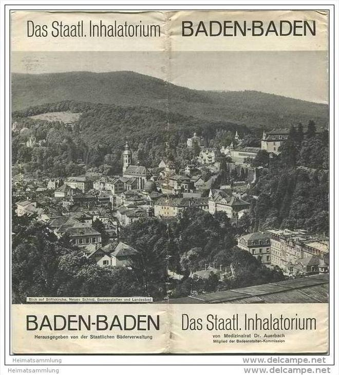 Baden-Baden 30er Jahre - 16 Seiten mit 19 Abbildungen u.a. Die einzelnen Inhalationsverfahren Wassmuth Reif Körting etc.