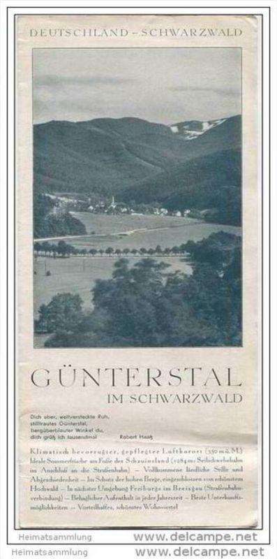 Günterstal 30er Jahre - Faltblatt mit 8 Abbildungen - Werbung mit 10 Abbildungen der einzelnen Pensionen