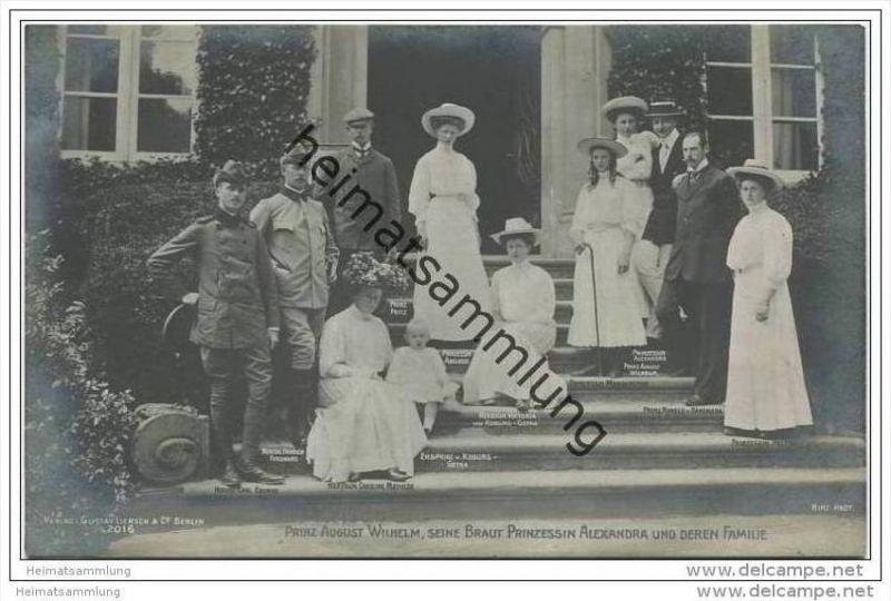 Deutsches Reich - Prinz August Wilhelm seine Braut Prinzessin Alexandra und deren Familie