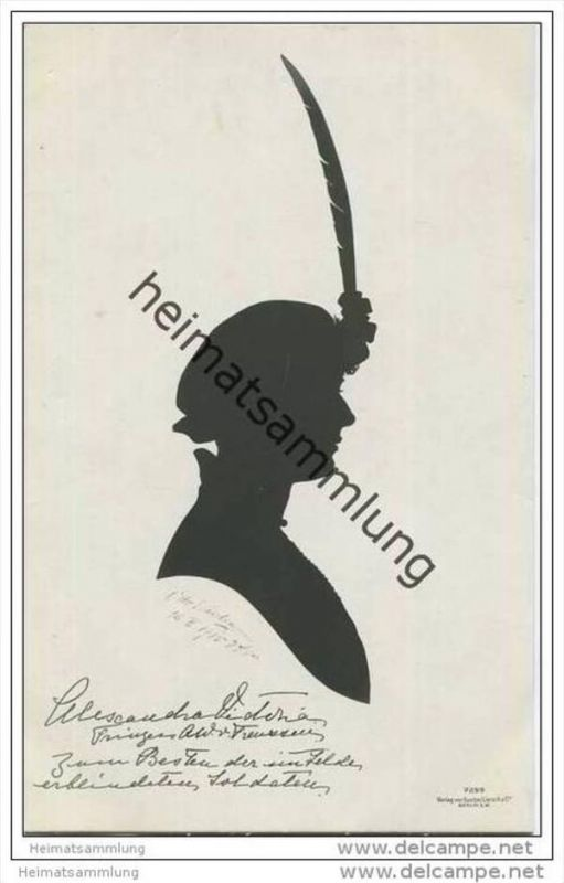 Deutsches Reich - Alexandra Viktoria Prinzessin August Wilhelm von Preussen - Scherenschnitt von O. Wiedemann