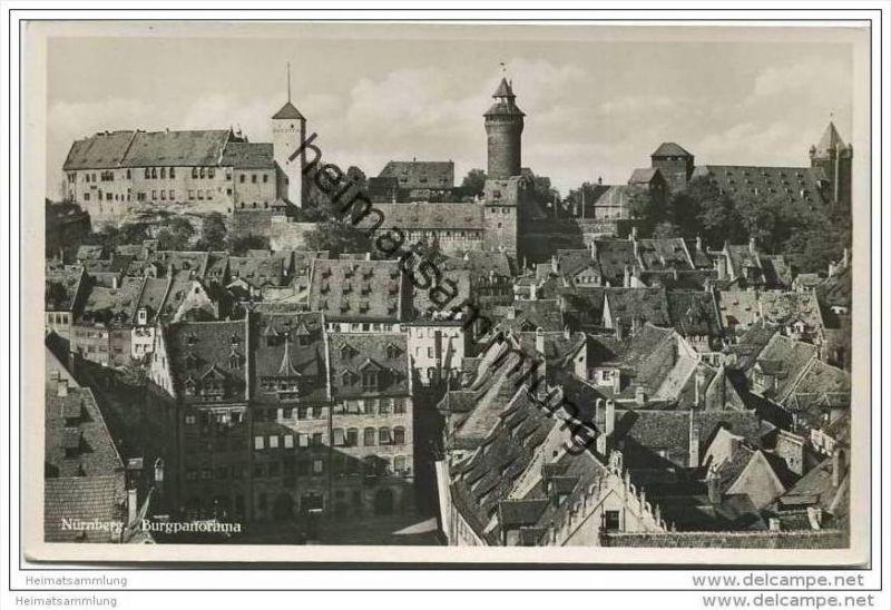 Nürnberg - Burgpanorama - Foto-AK 30er Jahre