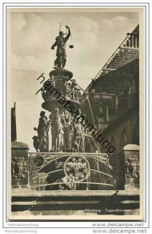 Nürnberg - Tugendbrunnen - Foto-AK 30er Jahre