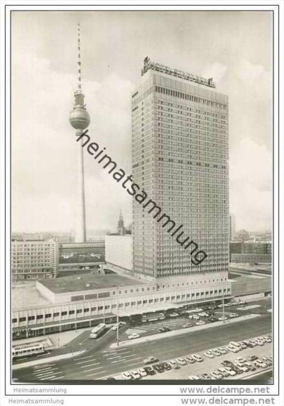 Berlin - Interhotel Stadt Berlin und Fernsehturm - Foto-AK Grossformat 70er Jahre