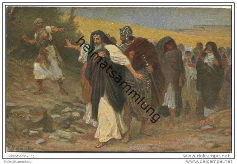 Die Heilige Schrift - David auf der Flucht vor Absalon - David in flight from Absalom - Künstlerkarte R. Leinweber