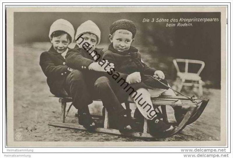 Die drei Söhne des Kronprinzenpaares beim Rodeln