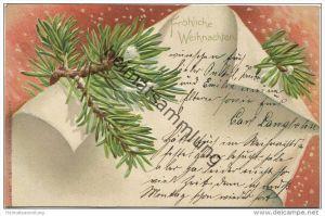 Fröhliche Weihnachten - Tannenzweig - Prägedruck - Erika-Karte N° 780 gel. 1903