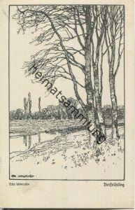 Vorfrühling - Aus der Mappe Deutsche Sehnsucht - Künstlerkarte signiert Otto Ubbelohde