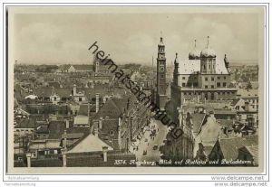 Augsburg - Blick aufs Rathaus - Foto-AK 30er Jahre