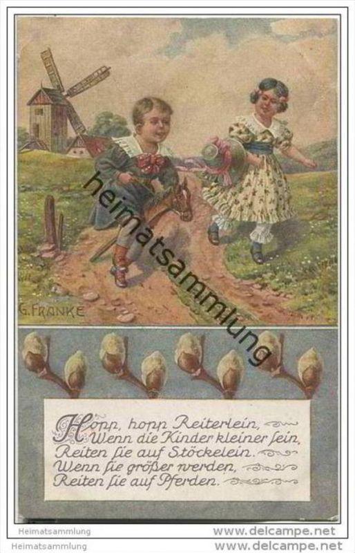 Kinderreime - Steckenpferd Windmühle Kinderreim - signiert G. Franke