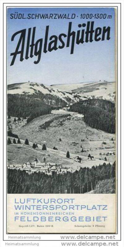 Altglashütten 1938 - Faltblatt mit 8 Abbildungen - Unterkunftsverzeichnis mit Ortsplan