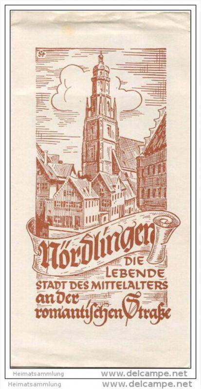 Nördlingen 1958 - Faltblatt mit 5 Abbildungen - Unterkunftsverzeichnis - Plan der inneren Stadt - kleines Faltblatt des