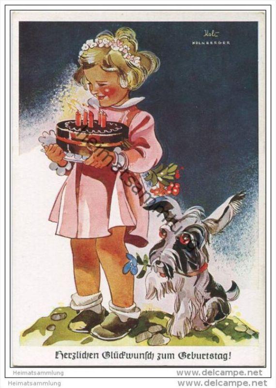 Mädchen mit Kuchen - Hund - Koli-Karte - AK Grossformat 40er Jahre