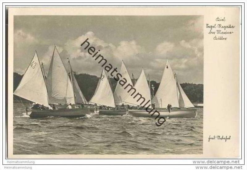 Segel-Regatta der Marine-Kutter - Kiel - Foto-AK 30er Jahre