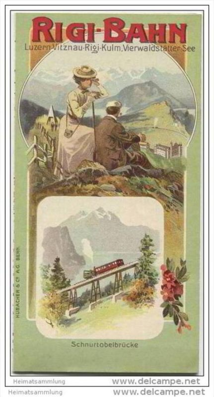 Rigi-Bahn - Schnurtobelbrücke - Faltblatt - farbige Panorama Karte Rigi-Kulm- rückseitig Vitznau-Rigi-Bahn Fahrplan 1910