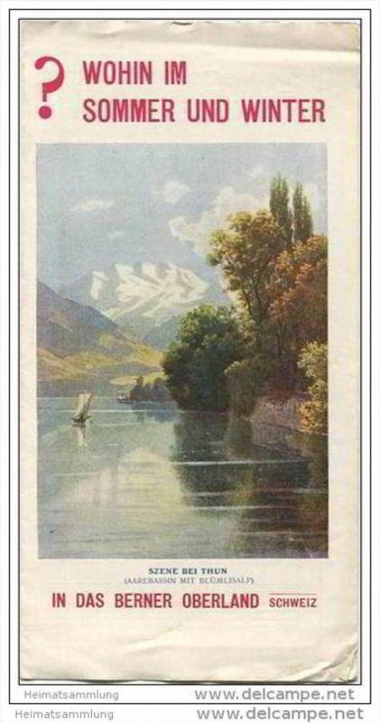 Berner Oberland ca. 1910 - Faltblatt mit 4 Abbildungen