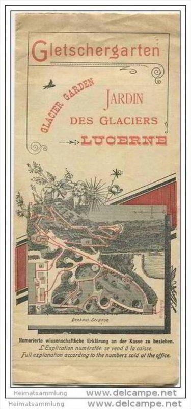 Gletschergarten 1900 - Faltblatt mit 2 Abbildungen - leichte Gebrauchsspuren